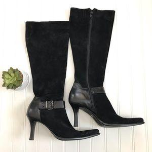 Franco Sarto Black Suede High Heeled Boots Sz 8.5